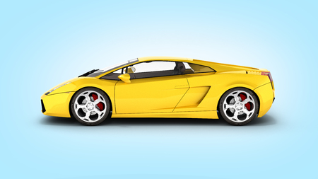 sport car vehicle side view on blue gradient background 3d