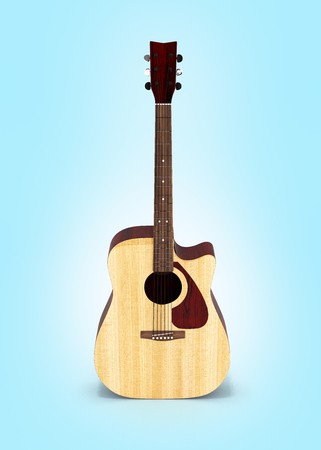 Acoustic guitar front view on blue gradient background 3d