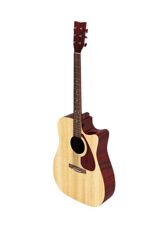 Acoustic guitar perspective view without shadow on white background 3d