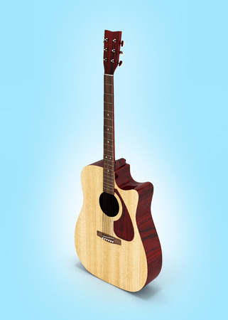 Acoustic guitar perspective view on blue gradient background 3d