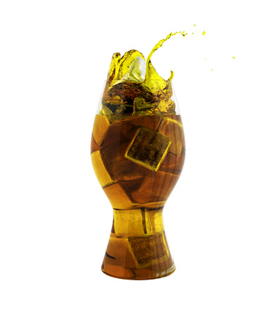 Cola glass with ice cubes without shadow over white 3d