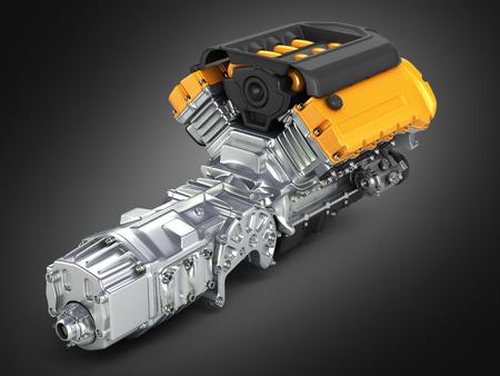 fuel rod: Automotive engine gearbox assembly on black gradient background 3D illustration