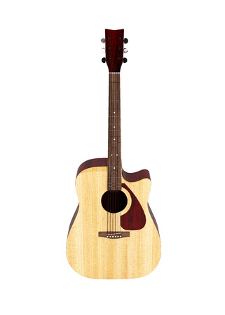 Acoustic guitar front view without shadow on white background 3d