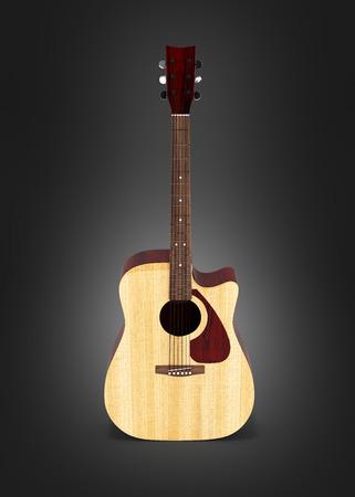 Acoustic guitar front view on black gradient background 3d