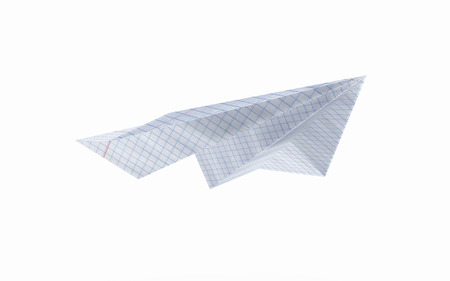 Paper Plane Made With Graph Paper Without Shadow On White Background