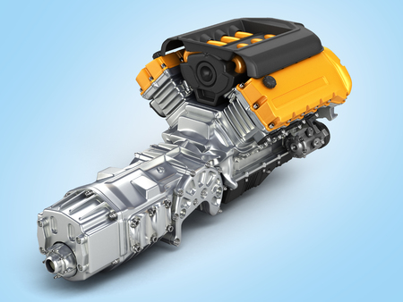 fuel rod: Automotive engine gearbox assembly on blue gradient background 3D illustration