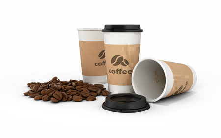 Paper coffee cup with coffee beans on white background 3d