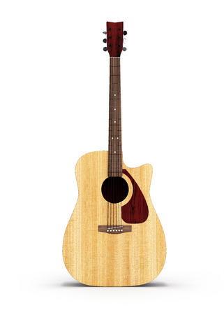 Acoustic guitar front view isolated on white background 3d