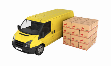 Yellow delivery van with cardboard boxes without shadow on white background 3d