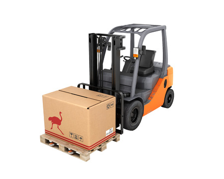 Forklift truck with box without shadow on pallet on white background 3d Stock Photo