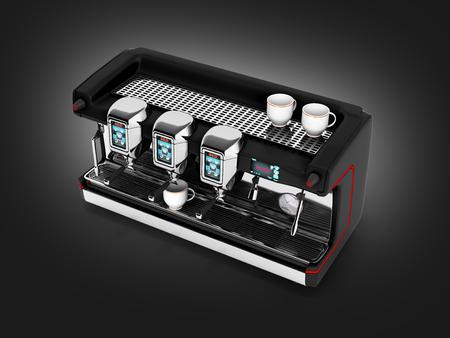 steel. milk: Modern Coffee Machine without on black gradient background 3d