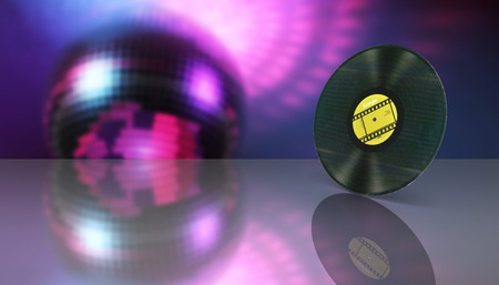vinyl record retro sound on disco style background with reflection 3d
