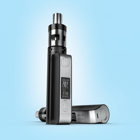 background e cigarette: electronic cigarett? box mode on blue gradient background 3d