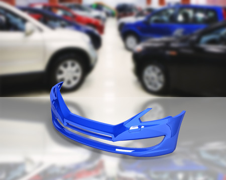 front bumper of the car on ?uto shop background 3d