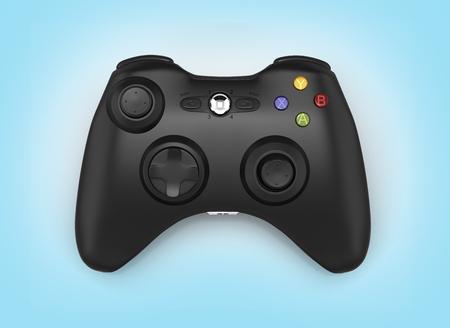 black gamepad on blue gradient background 3d