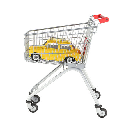 small retro car in the shopping trolley without shadow 3d