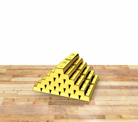 Gold bars in a pyramid on white background  3d