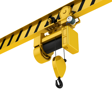 overhead crane perspective view isolated on white background 3d Stock Photo