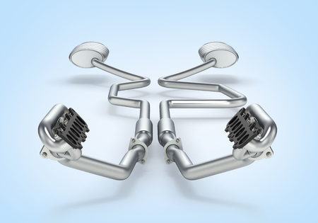 Exhaust pipes system fron view on blue gradient background 3d