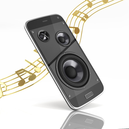 Musical smartphone Mobile phone music app Cellphone and loudspeakers with notes on white background 3d