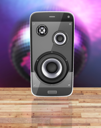 Musical smartphone Mobile phone music app Cellphone and loudspeakers with notes on wood floor and disco ball background with reflection 3d