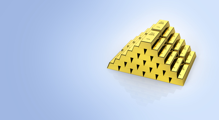 Gold bars in a pyramid on blue gradient background with reflection and place for text 3d Stock Photo