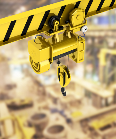 overhead crane isolated on factory background 3d Stock Photo