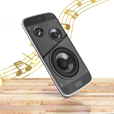 Musical smartphone Mobile phone music app Cellphone and loudspeakers with notes on wood floor and white background 3d Stock Photo