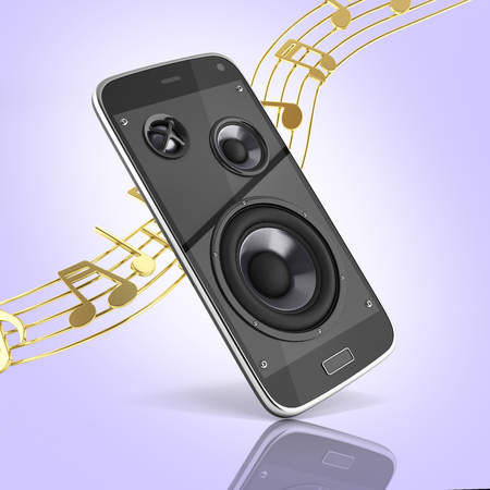 Musical smartphone Mobile phone music app Cellphone and loudspeakers with notes on purple gradient background 3d Stock Photo