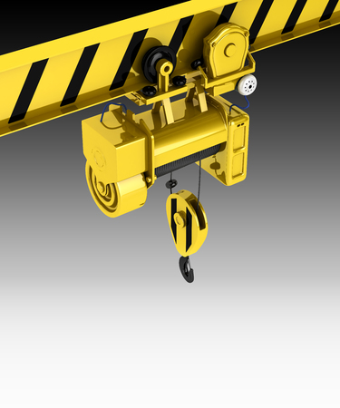 heave: overhead crane isolated on black gadient background 3d