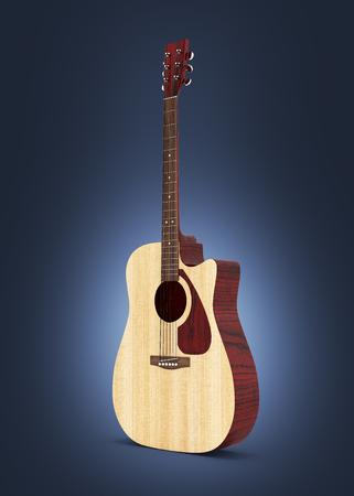 Acoustic guitar on dark blue gradient background 3d Stock Photo