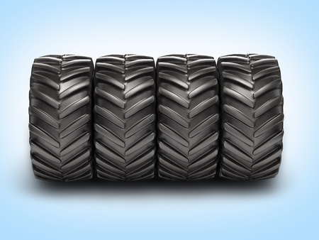 alloy wheel: Off-road wheels on blue gradient background 3D