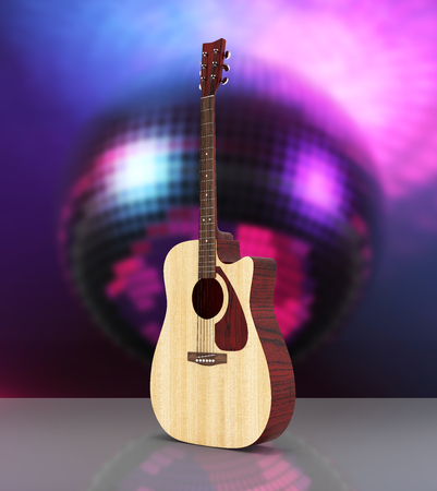 Acoustic guitar on disco ball background 3d Stock Photo