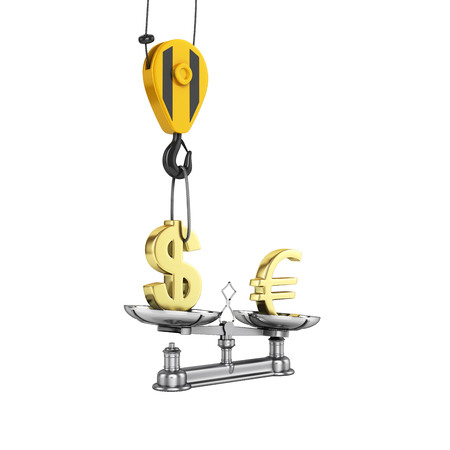 lowers: Concept of exchange rate support dollar vs euro The crane pulls the dollar up and lowers the euro without shadow on white background with reflection 3d