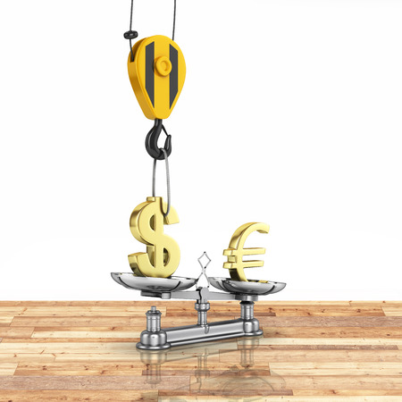 vs: Concept of exchange rate support dollar vs euro The crane pulls the dollar up and lowers the euro on wood floor and white background with reflection 3d Stock Photo