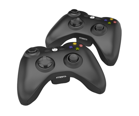 black gamepads multiplayer games illustration without shadow on white background 3d
