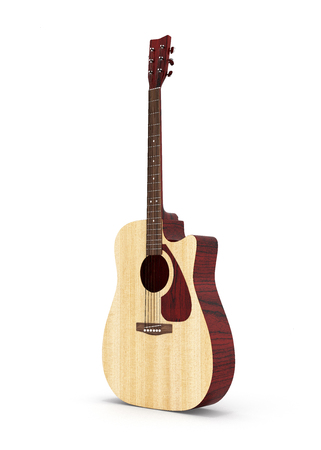 Acoustic guitar isolated on white background 3d Stock Photo