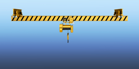 overhead crane isolated on blue gradient background 3d Stock Photo
