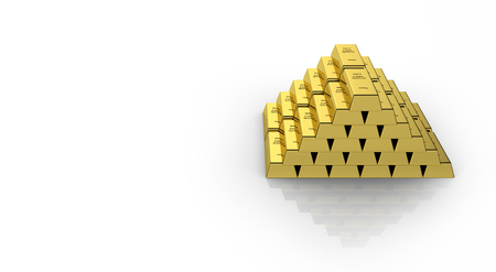 Gold bars in a pyramid isolated on white background with reflection and place for text 3d Stock Photo