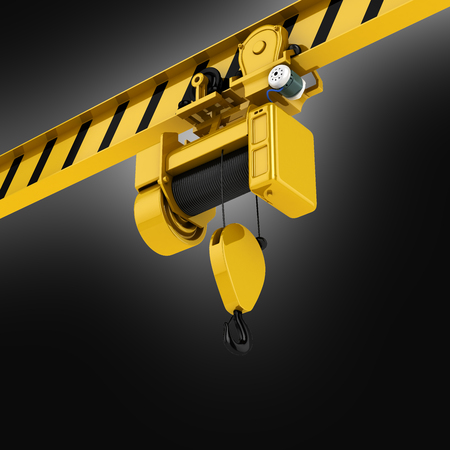 overhead crane perspective view on black gradient background 3d Stock Photo