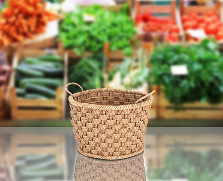 Empty wicker basket on market background with reflection 3d Stock Photo