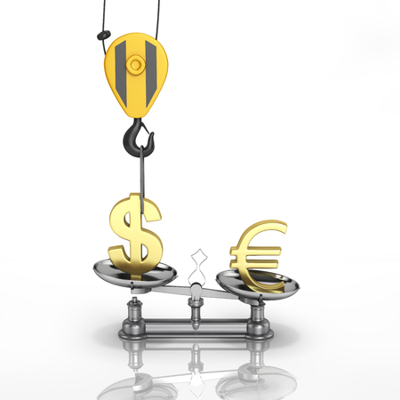 vs: Concept of exchange rate support dollar vs euro The crane pulls the dollar up and lowers the euro on white background with reflection 3d
