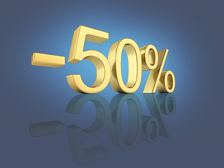 Gold text 50 percent off on dark blue gradient background with reflection 3D render