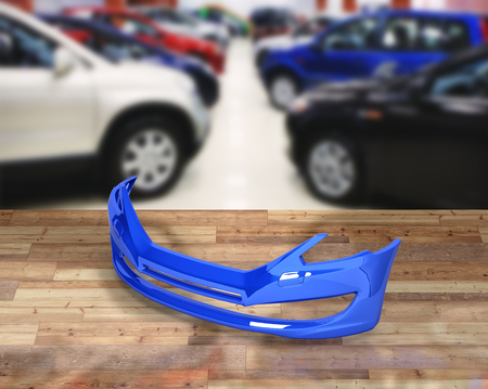 fender: front bumper of the car on ?uto shop background 3d