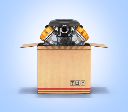 package sending: Engine in a cardboard box Concept of sale and delivery of auto parts on blue gradient background 3d Stock Photo