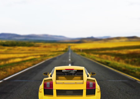 sport car vehicle in yellow rear view on road background 3d