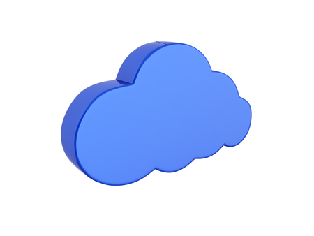 Cloud sign illustration in blue without shadow on white background 3d