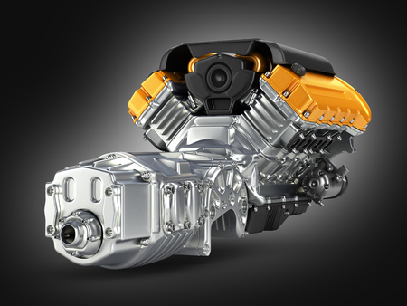 Automotive engine gearbox assembly on black gradient background 3D Stock Photo