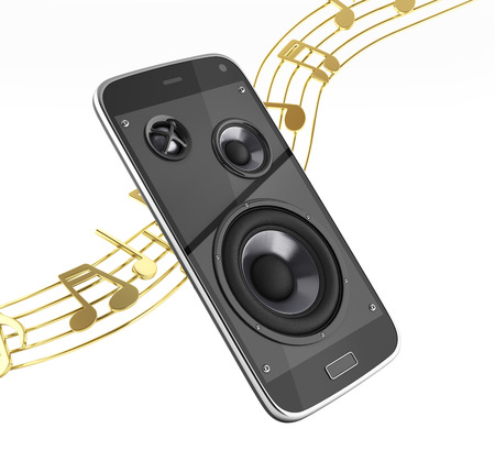 Musical smartphone Mobile phone music app Cellphone and loudspeakers with notes without shadow on white background 3d