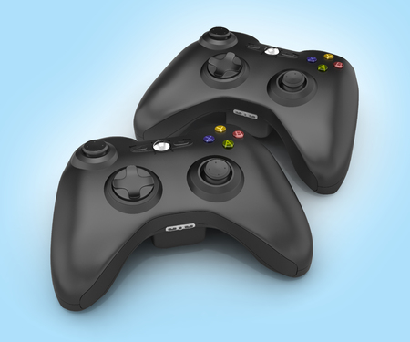 black gamepads multiplayer games illustration on blue gradient background 3d